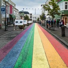 Seventeenth Annual Gay Pride Celebration in Reykjavik. The rainbow on Skólavörðustígur street in Reykjavík is a sign of joy and support for diversity in Iceland.