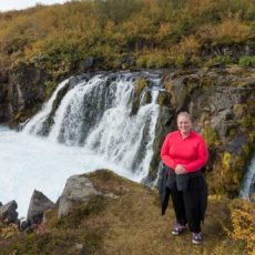 Lisa at Bruafoss Falls