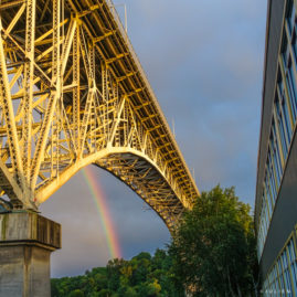 June 21 -- Rainbow under Ship Canal Bridge, at Sunset