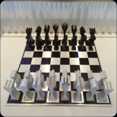 Aluminum Chess Set -- About 100 Chess Sets are part of the Maryhill Museum permanent collection.