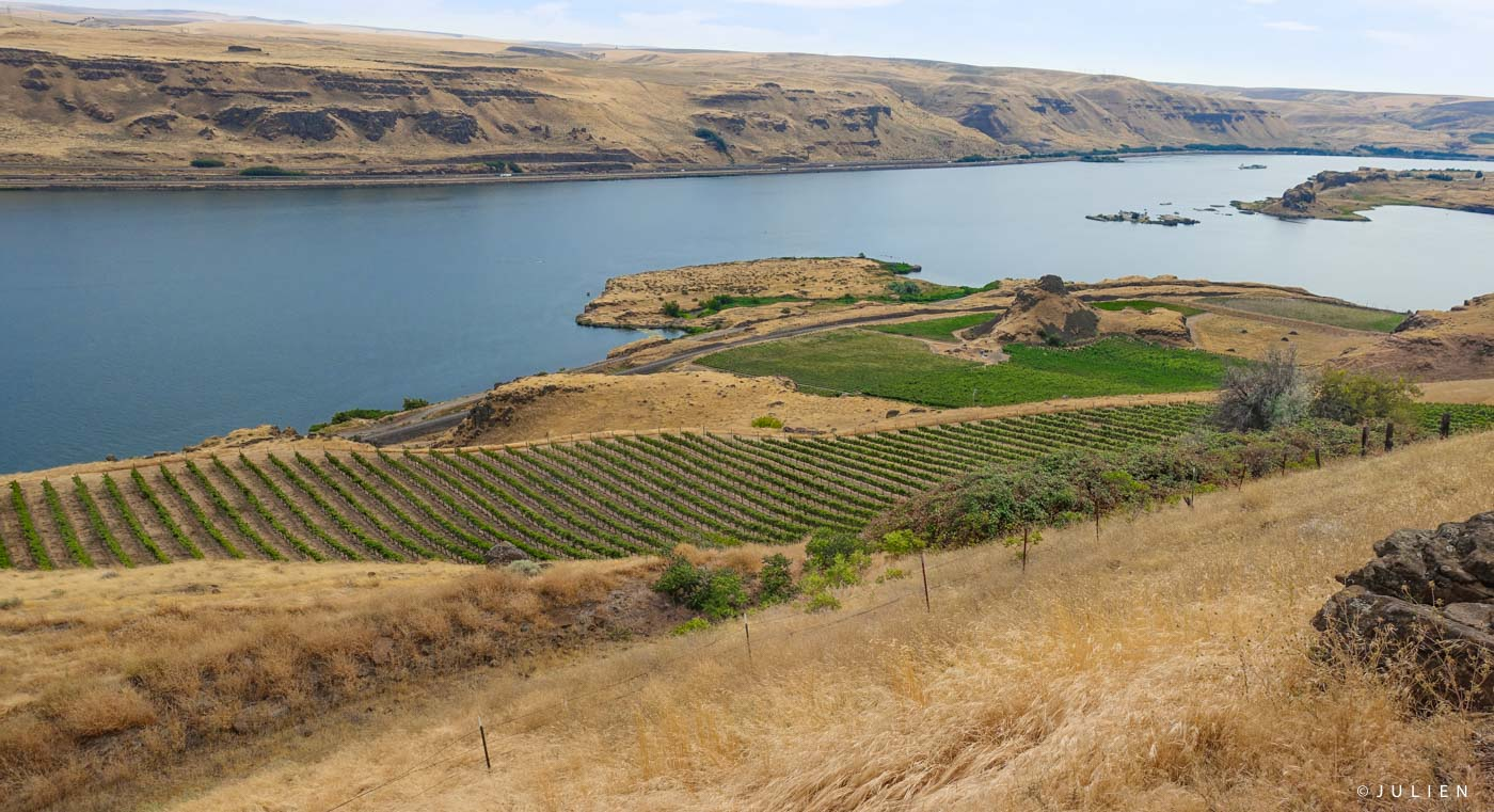 A Stop at Maryhill Museum -- The Columbia River Gorge and Maryhill Winery Below