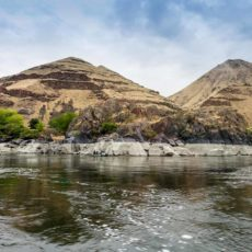 Hell's Canyon on the Snake River -- Note the white band on the shoreline marking the high water mark earlier this year, 2017.