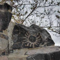 Sun Petroglyph on the Columbia River near Vantage, WA.