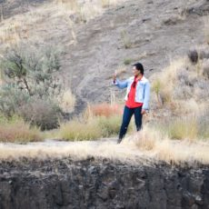 Man taking selfie on the Palouse River in Palouse Falls State Park