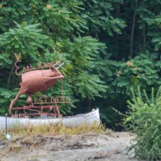 Found object Bull Sculpture marking Earl Ranch on the Snake River